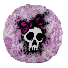 Sketched Skull Princess Large 18  Premium Flano Round Cushion