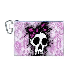 Sketched Skull Princess Canvas Cosmetic Bag (Medium)