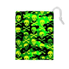 Skull Camouflage Drawstring Pouch (Large)