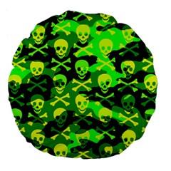 Skull Camouflage Large 18  Premium Flano Round Cushion