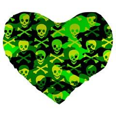 Skull Camouflage Large 19  Premium Flano Heart Shape Cushion