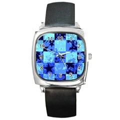 Blue Star Checkers Square Leather Watch