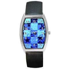 Blue Star Checkers Tonneau Leather Watch