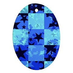 Blue Star Checkers Oval Ornament (two Sides)
