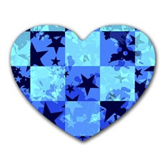 Blue Star Checkers Mouse Pad (heart)