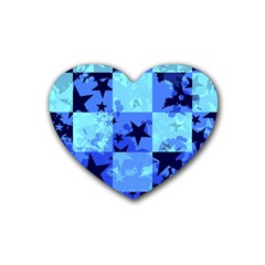 Blue Star Checkers Drink Coasters (heart)