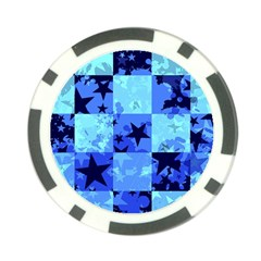 Blue Star Checkers Poker Chip