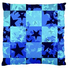 Blue Star Checkers Large Cushion Case (two Sided)