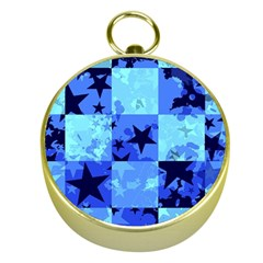 Blue Star Checkers Gold Compass