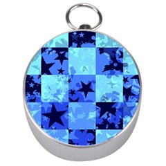 Blue Star Checkers Silver Compass