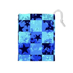 Blue Star Checkers Drawstring Pouch (Medium)