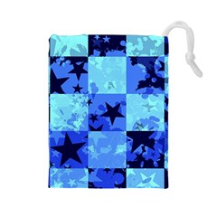 Blue Star Checkers Drawstring Pouch (Large)