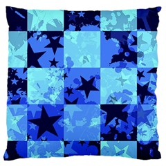 Blue Star Checkers Large Flano Cushion Case (One Side)