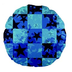 Blue Star Checkers Large 18  Premium Flano Round Cushion