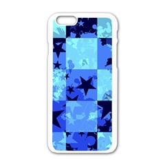 Blue Star Checkers Apple iPhone 6 White Enamel Case