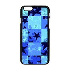 Blue Star Checkers Apple iPhone 6 Black Enamel Case