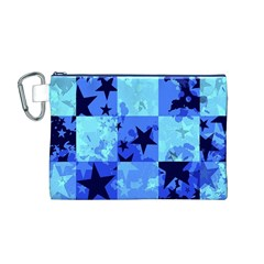 Blue Star Checkers Canvas Cosmetic Bag (medium)