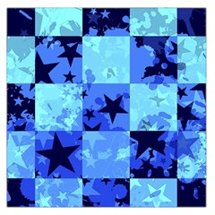 Blue Star Checkers Large Satin Scarf (Square)