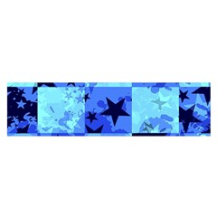 Blue Star Checkers Satin Scarf (Oblong)