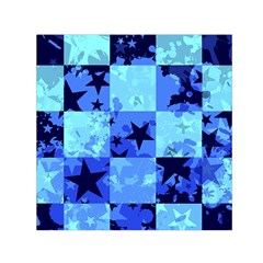 Blue Star Checkers Small Satin Scarf (Square)