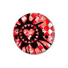 Love Heart Splatter Magnet 3  (round)