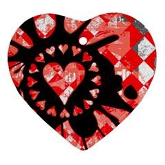 Love Heart Splatter Heart Ornament (two Sides)