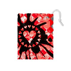Love Heart Splatter Drawstring Pouch (medium)