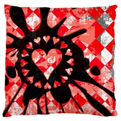 Love Heart Splatter Large Flano Cushion Case (Two Sides)
