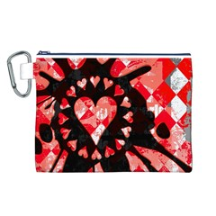 Love Heart Splatter Canvas Cosmetic Bag (Large)