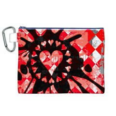 Love Heart Splatter Canvas Cosmetic Bag (XL)
