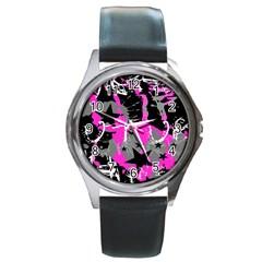 Pink Scene Kid Round Leather Watch (silver Rim)