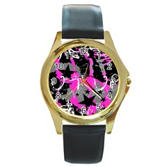 Pink Scene Kid Round Leather Watch (gold Rim)