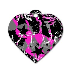 Pink Scene Kid Dog Tag Heart (two Sided)