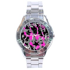 Pink Scene Kid Stainless Steel Watch