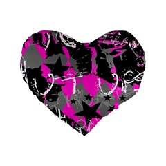 Pink Scene kid Standard 16  Premium Flano Heart Shape Cushion