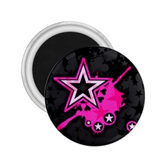 Pink Star Graphic 2 25  Button Magnet