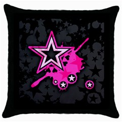 Pink Star Graphic Black Throw Pillow Case