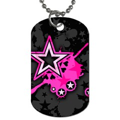 Pink Star Graphic Dog Tag (two Sided)