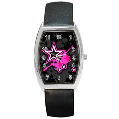 Pink Star Graphic Tonneau Leather Watch