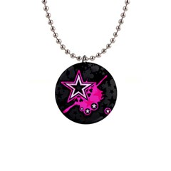 Pink Star Graphic Button Necklace