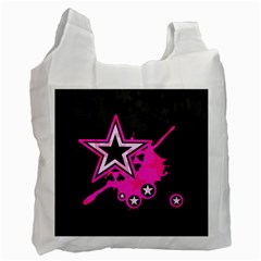 Pink Star Graphic White Reusable Bag (one Side)