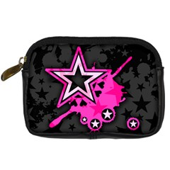 Pink Star Graphic Digital Camera Leather Case