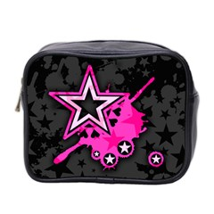 Pink Star Graphic Mini Travel Toiletry Bag (two Sides)