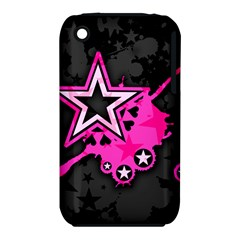Pink Star Graphic Apple Iphone 3g/3gs Hardshell Case (pc+silicone)