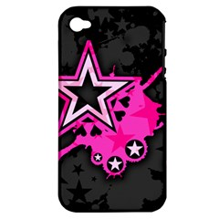Pink Star Graphic Apple Iphone 4/4s Hardshell Case (pc+silicone)