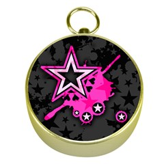 Pink Star Graphic Gold Compass