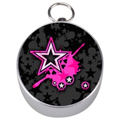 Pink Star Graphic Silver Compass