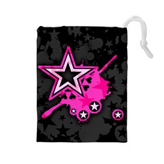 Pink Star Graphic Drawstring Pouch (large)