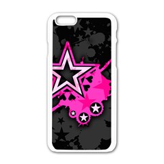 Pink Star Graphic Apple Iphone 6 White Enamel Case