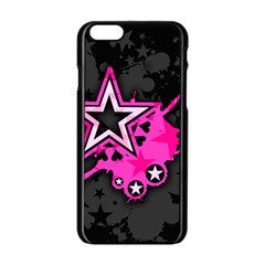 Pink Star Graphic Apple iPhone 6 Black Enamel Case